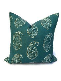 Peter Dunham Pillow Cover Kashmir Paisley in Tea Peacock, Lumbar Pillow, Decorative Throw Pillow, Accent Pillow, Cushion Cover