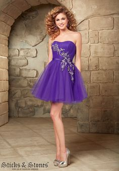 Sticks And Stones Homecoming/ Party/Cocktail / Dresses Style 9344,Tulle with satin Waistband and baeding Zipper Back Closure.Available in Pink Panther,Deep Purple.