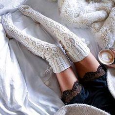 98e92254e08 Fashion 2018 Women Warm Winter Sexy Cable Long Boot Knit Thigh-High Leggings