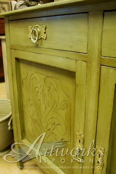 #chalk paint dry brushed with Olive, Chateau Grey and Versailles