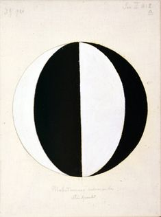 "Hilma af Klint, ""The Mahatmas Present Standing Point, Series II, No. 2a,"" January 1920. Oil and graphite on canvas, 14 5/8 x 10 5/8 in."