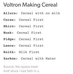 um... water... Lance, no. I don't care that Keith pours his milk first, so does Josh Dun