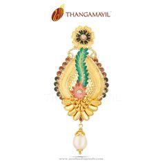 Gold Designer Pendant From Thangamayil Jewellery ~ South India Jewels India Jewelry, Jewellery, Pendant Jewelry, Gold Jewelry, Pendant Design, South India, Designer, Pendants, Indian