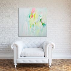 Yellow and green Abstract lanscape painting, wall decor, Large Canvas Painting, mid century modern art white painting