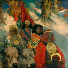 """We follow waves of sound from life to life. A dying man's ears will hear long after his eyes are blind. He hears the sound that leads him to his next life as the Source of All being plucks the harp of creation."" - Morgan Llywelyn - Druids  E. A. Hornel and George Henry - The Druids Bringing in the Mistletoe, 1890"
