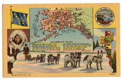 Vintage 1940s Linen Alaska Flag Postcard, Alaskan Malamutes, State Map, The Bering Sea, Territory Seal