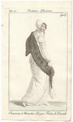 An 10 Costume Parisien #406  Canezou a Manches Larges. Fichu de Dentelle