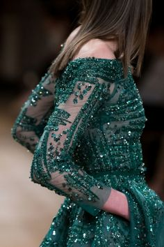 Gown - Ziad Nakad Fall 2016 green beaded long sleeved off-the-shoulder gown.