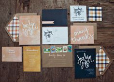 Loving the navy blues, peaches, and plaid in this wedding stationary!