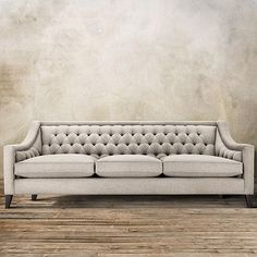 Bring the glitz of Old Hollywood to your home with the Arhaus Rylan Tufted Upholstered 92 Sofa in Taranto Dove. Handcrafted in America! Formal Living Rooms, Living Room Sofa, Living Room Furniture, Dining Room, Tufted Couch, Upholstered Sofa, Sofa Furniture, Furniture Design, Space Furniture