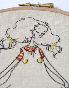 Hand Embroidery Hoop Art. Beige Oatmeal with Yellow by mirrymirry