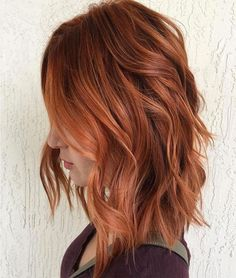 Red hair looks so cute with long bob hairstyles! Red hair looks so cute Hair Color Auburn, Red Hair Color, Auburn Hair Copper, Auburn Colors, Orange Color, Ombré Hair, New Hair, Hair Dye, Red Hair Looks