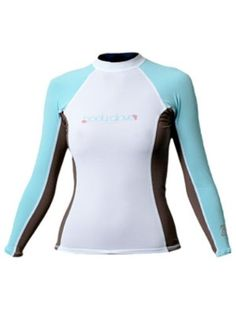 Body Glove Deluxe Womens Long Arm Lycra Rash Guard Shirt (White/Blue/Wood, Small) « Impulse Clothes