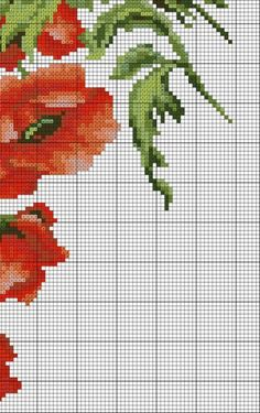 Poppies 5 of 6 Cute Cross Stitch, Cross Stitch Flowers, Counted Cross Stitch Patterns, Cross Stitch Charts, Cross Stitch Embroidery, Stitch Cartoon, Cross Stitch Pictures, Cross Stitching, Couture