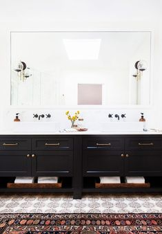 double vanity high contrast brass hardware