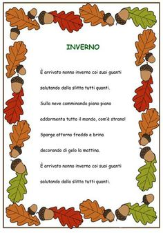Piccola poesia sullinverno Learn To Speak Italian, Vintage School, Italian Language, Learning Italian, Winter Kids, Home Schooling, I School, Sustainable Design, Nursery Rhymes