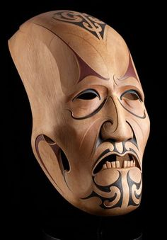 """Wise Old Man"" by Todd Couper -- Maori carver, who creates sizeable works, incorporating traditional shapes and design elements Mascara Maori, Native Art, Native American Art, Tiki Maske, Ta Moko Tattoo, Zealand Tattoo, Ceramic Mask, Polynesian Art, Maori Designs"