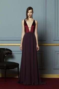 Deep v and burgundy silk in Hellessy F/W '15 collection
