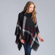 Plus Size Women's Wool Plaid Turtleneck Poncho Sweater