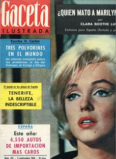 Marilyn Monroe on the cover of Gaceta Ilustrada magazine, September 5, 1964, Mexico. Cover photo of Marilyn on the set of Let's Make Love, 1960.