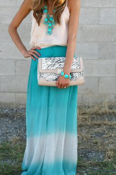 blue ombre maxi skirt. This is why I like dresses! Bubble necklace too!!