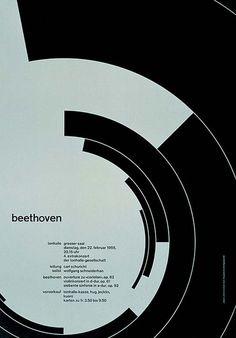 Beethoven poster design by Josef Müller–Brockmann, 1955 Bts Design Graphique, Art Graphique, Bauhaus, Armin Hofmann, Joseph Muller, International Typographic Style, Swiss Style, Swiss Design, Typography Poster