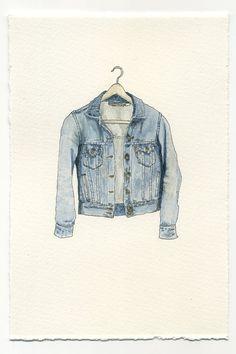 Watercolour illustration of denim jacket