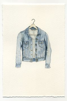 ORIGINAL Watercolor Illustration  Worn In Blue by ephemerafriends *jacket*