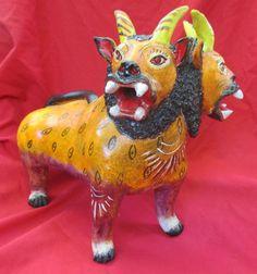 Juan Jose Medrano Ceramic Folk Art Barro Betus 2-Headed Lion Goat Nagual