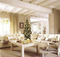 I want a bright and well lit living room Christmas Interiors, Christmas Living Rooms, Small Living Rooms, Christmas Home, Living Room Decor, Living Spaces, White Christmas, Christmas Decor, Home Design