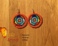 Zulu bead work handcrafted by Zulu women South Africa by ZULUArtwork Zulu Women, South Africa, Orange, Crochet Earrings, Vibrant, Beads, Creative, Artwork, Handmade