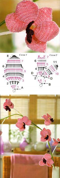 Орхидея крючком (+ схема) | Женское хобби | вязаные цветы | Постила