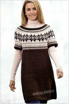 Платье-туника спицами с кокеткой из жаккардового узора - Платье,сарафан