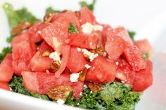 Kale and Watermelon Salad with Gorgonzola, Candied Pecans + Leeks Viniagrette