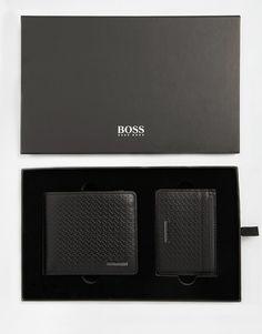 Hugo Boss Giarko Leather Billfold Wallet & Card Holder Gift Set