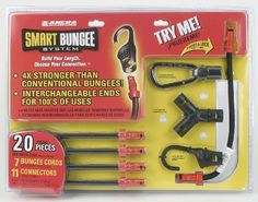 Ancra 95736 Smart Bungee System, Black, 20-Piece by Ancra. $23.22. From the Manufacturer                Ancra Smart Bungee System is a unique new method of creating virtually any bungee cord style you may need. The 20-Piece set comes complete with 7 bungee cords, 2 mini cords and 11 assorted connectors including 1 carabineer, 1 y-connector, 2 standard hooks, 2 clip hooks, 2 straight connectors, 2 wall-mounts hangers, 1 bungling clip and an added storage bag. The...