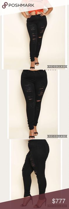 COMING SOON!!! COMING SOON!!!! NEW PLUS Size Black Skinny jeans with destruction. Jeans Skinny