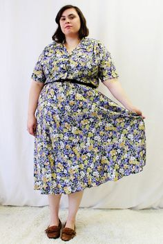Plus Size  Vintage Floral Swing Skirt Shirt Dress by TheCurvyElle, $40.00