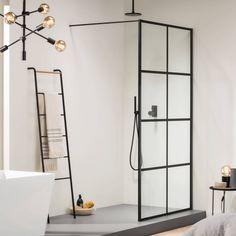 Sealskin SOHO Inloopdouche A# cm Charcoal Helder Glas Sealglas Shower Panels, Shower Doors, Shower Screens, Bad Inspiration, Bathroom Inspiration, Soho, Walk In Shower Enclosures, Shower Fittings, Double Shower