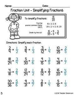 Fraction Unit Simplifying Fractions Worksheet In 2020 Fractions Worksheets Simplifying Fractions Fractions