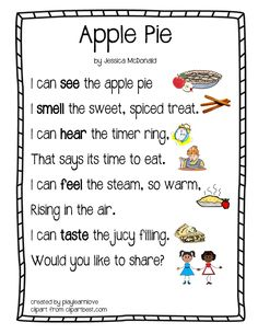Apple Pie Five Senses Poem - From Play Learn Love