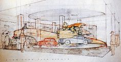 Frank Lloyd Wright's drawing for the Hoffman Show Room (courtesy the Frank Lloyd Wright Foundation) via Hyperallergic.com