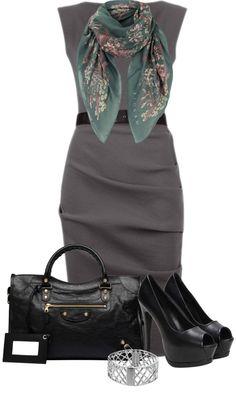 """""""Gray Dress"""" by denise-schmeltzer on Polyvore"""