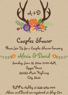 """Antlers & flowers monogram wedding couples shower invitation. Size: 5"""" x 7"""" Make custom invitations and announcements for every special occasion! Choose from twelve unique paper types, two printing options and six shape options to design a card that's perfect for you. Size: 5"""" x 7"""" (portrait) or 7"""" x 5"""" (landscape) Standard white envelope included Add photos and text to both sides of this flat card at no extra charge Use the """"Customize it!"""" CLICK IMAGE FOR MORE DETAILS. Couples Wedding Shower Invitations, Wedding Couples, Custom Invitations, Colored Envelopes, White Envelopes, I Do Bbq, Couple Shower, Monogram Wedding, Envelope Liners"""