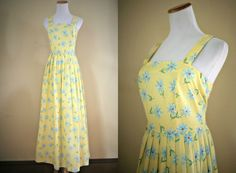 1990's Sunshine Sundress   Laura Ashley Midi by LittleGhostVintage