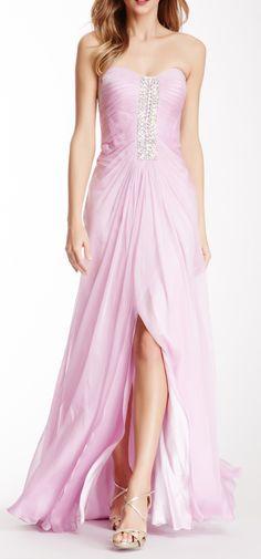 Embellished Vertical Band Strapless Dress