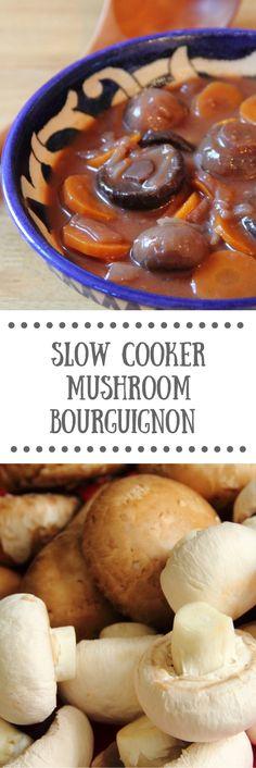 Slow Cooker Mushroom Bourguignon | Hearty Vegan Crockpot Recipe