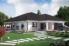 Projekt domu KA23 Florida House Plans, Bungalow House Plans, Family House Plans, Dream House Plans, Modern House Plans, Modern Bungalow House Design, House Architecture Styles, House Outside Design, House Design Pictures