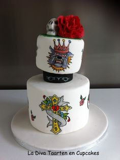 Handpainted Cake in Ed Hardy theme By Araucaria on CakeCentral.com