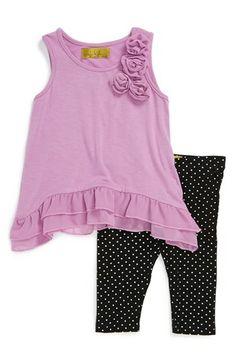 Nicole Miller Chiffon Trim Tank Top & Polka Dot Leggings (Toddler Girls) available at #Nordstrom